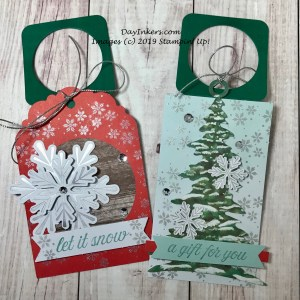Wine tags made with the Winter Gifts Paper Pumpkin kit.