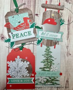 Four gift tags created with the Winter Gifts Paper Pumpkin kit.
