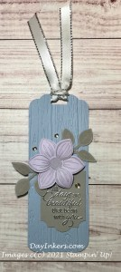 Retiring In-Colors with Pinewood Planks embossed tag with Floral Essence Flower from Stampin' Up!
