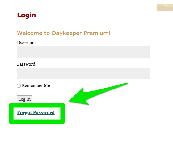Daykeeper forgot password