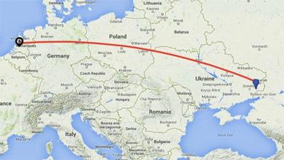 Flight path MH17