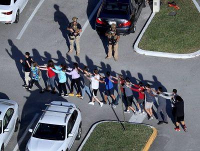 Students exit Stoneman-Douglas