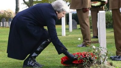 May lays memorial wreath