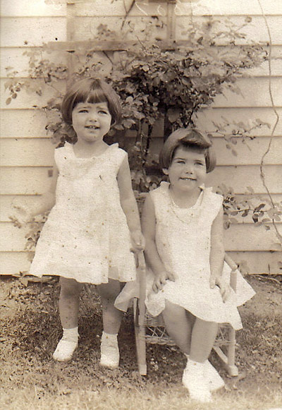 Lorraine with sister Betty, 1933