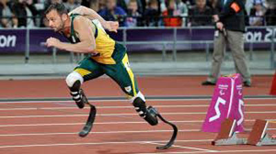"Runner Oscar ""Blade Runner"" Pistorius on the track"