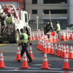 Cones on GW bridge approach at ft. lee