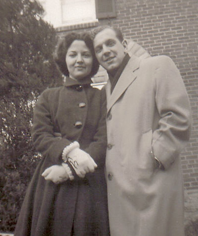 Lorraine and Marshall at their engagement, 1955