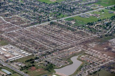 Aerial view, Moore destruction
