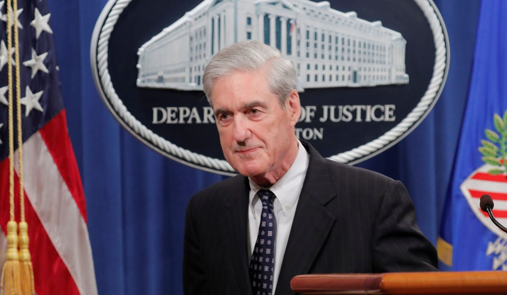 U.S. Special Counsel Robert Mueller delivering statement