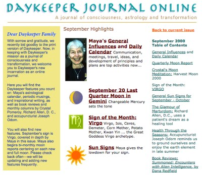 Daykeeper Journal astrology consciousness and transformation, September 2000