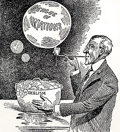 A 1919 cartoon deriding Woodrow Wilson's League of Nations initiative