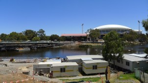 A new bridge under construction over the River Torrens