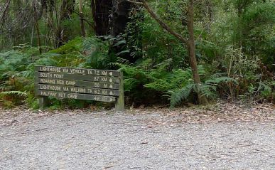 Sign at Roaring Meg junction - Telegraph Track