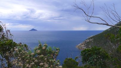The bay to the west of the lightstation on a very calm afternoon, Rodondo Island (Tas) in the distance