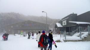 Village Restaurant on the right, Ski Hire shop straight ahead