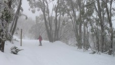 Snowshoeing in the light cloud