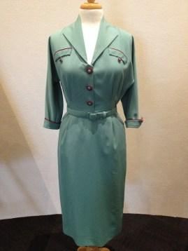 Alice Harvey - Sage green & red trim dress with belt