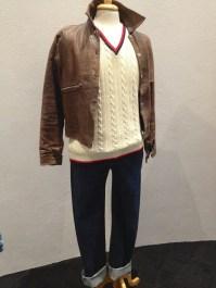 Bodgy - Denim 'Levi' jeans, vintage brown leather jacket, white cotton Haynes T-shirt & cream cable knit 'Ca Vernia' vest