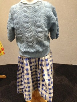 Little Girl - Blue & white checked cotton with anchors & wheel, blue open knit short sleeve cardigan & white cotton blouse '42'