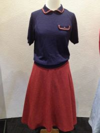 Mattie - Navy Blue with red trim short sleeve knit [shirt], red wool A-line skirt & cotton voile & tulle petticoat