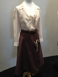 Virginia McKay - Cream cotton blouse, chocolate brown cotton skirt, brown leather belt with brass buckle & floral silk slip