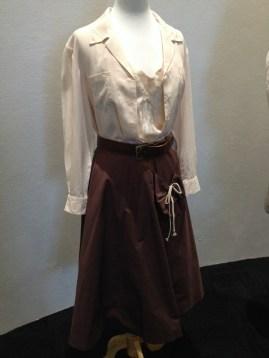 Virginia McKay - Cream cotton blouse, chocolate brown cotton skirt, brown leather belt with brass buckle & floral silk slip