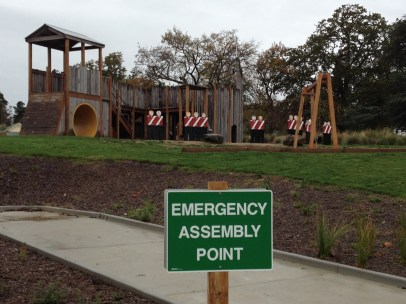 Emergency Assembly Point in front of the toy soldiers at the kids play area - somewhat ironic?