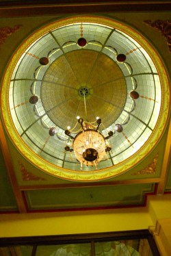 Ornate dome and light - Carrington Hotel