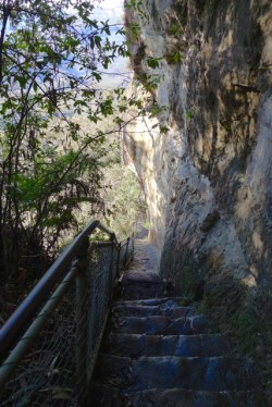 Steep stairs down the cliff