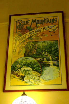 Travel poster advertising The Blue Mountains as 'Today's Holiday Resort'