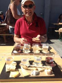 Enjoying Bruny Island Cheese and Josef Chromy wine at the Taste of Tasmania