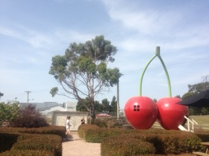 Giant cherries in front of the Cherry Shed - Latrobe