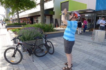 Exploring Christchurch's temporary mall on bike