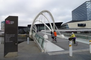 Crossing the Seafarers Bridge toward the Melbourne Convention Centre
