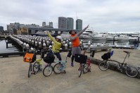 Elsie and Stanley with Bromptons at Docklands