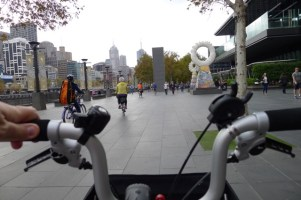 Handlebar view of Southbank