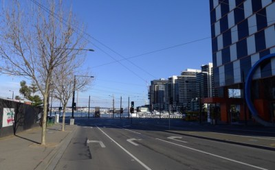 Approaching corner of Latrobe St & Harbour Esplanade