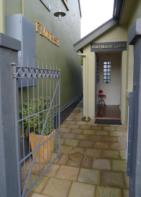The entrance to Firemans Loft - our accommodation in South Hobart