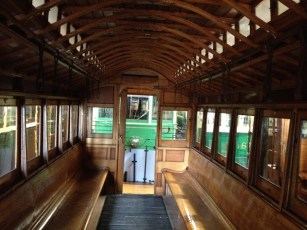 The inside Cable Tram Trailer 256 is quite beautiful with all the wood and glass fixtures