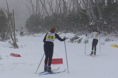 Competitors in the cross-country ski race