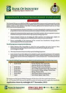 Apply for Bank of Industry N2 Million Loan for NYSC Youth Corp Members. Application closes 3rd of November 2015.