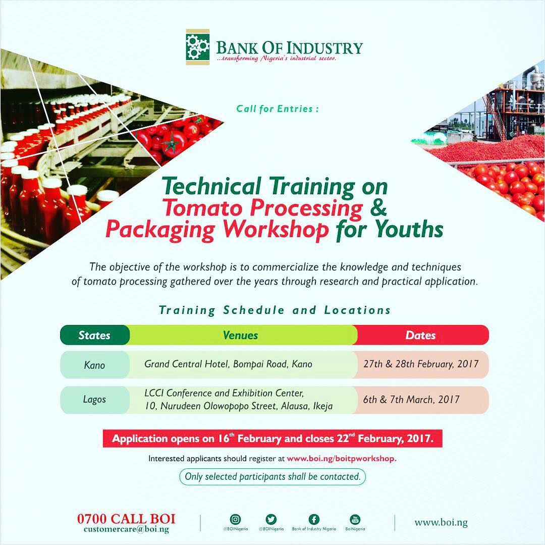 Apply For Technical Training on Tomato Processing & Packaging Workshop for Youths by BOI