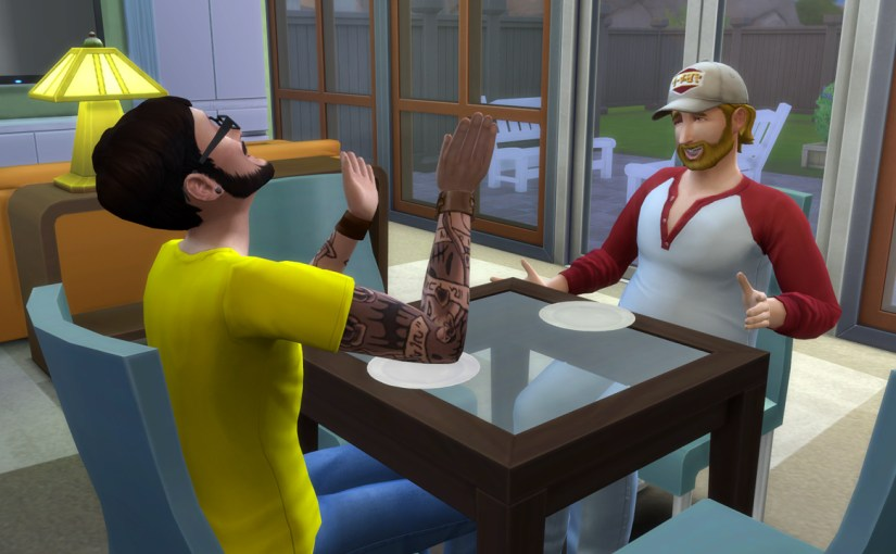 Andre DaSilva and Steve Fogel have a humourous conversation during breakfast.
