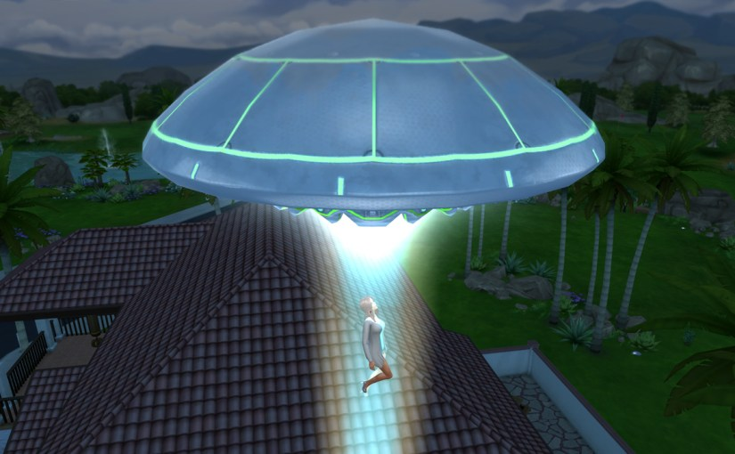 Katrina Caliente being abducted by an alien space ship.