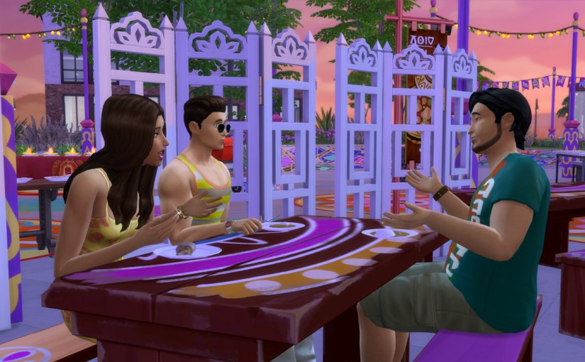 Zoe Patel, J Huntington III and Mitchell Kalani visit the Spice Festival in San Myshuno.