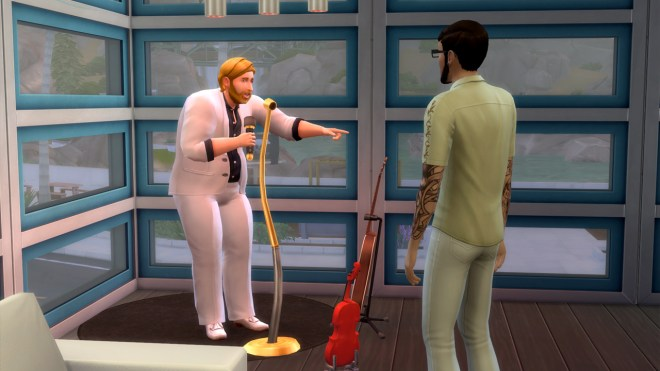 Steve Fogel practices a comedy routine with Andre DaSilva at The Solar Flare loung in Oasis Springs.