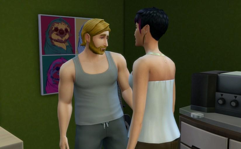 Steve Fogel flirts with June Kay in his bedroom.