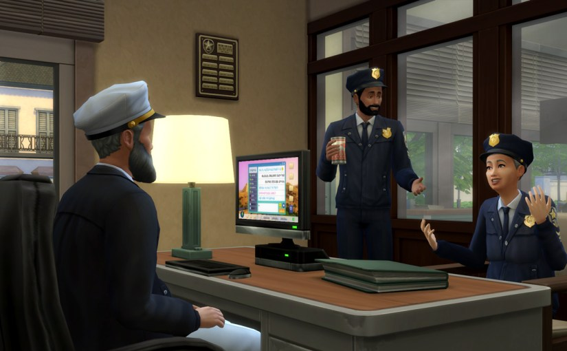 Karim chats with Police Chief Ishikawa and Officer Mako Ishikawa.