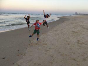 three voys on air at the beach
