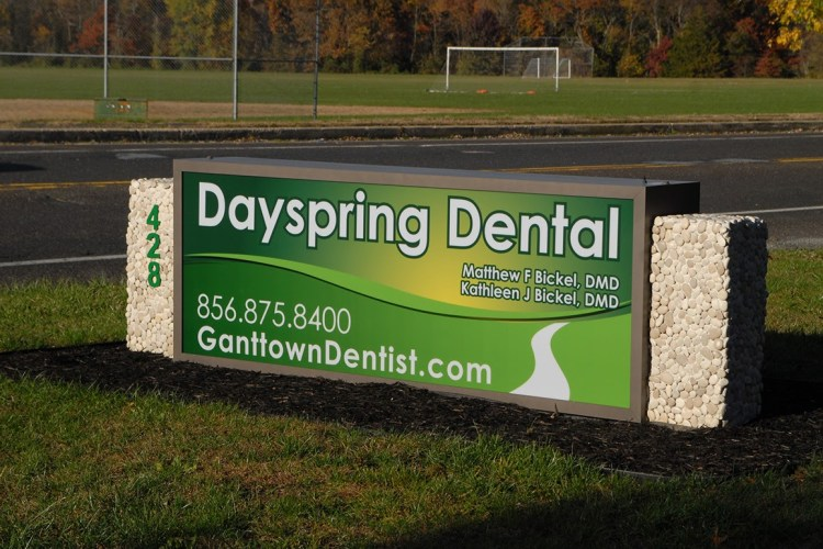 Our office, Dayspring Dental street sign